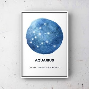 Aquarius zodiac sign constellation blue art print